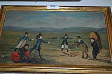 19th / 20th Century English school, oil on canvas applied to board, figures engaged in a duel, 6.5ins x 11.5ins, gilt framed, Bourlet label verso