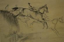 John Skeaping, ink and crayon drawing, study of steeplechasers, signed and dated '48, 13.75ins x 18.5ins, gilt framed