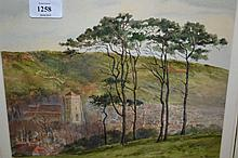 A. Slater, watercolour landscape with distant town and church and another watercolour, winter landscape, monogrammed A.S. dated 1949
