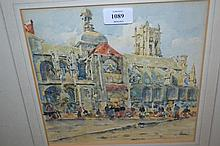 Watercolour and gouache, figures at a street market by a cathedral, monogrammed G.C.H., 9ins x 9.5ins