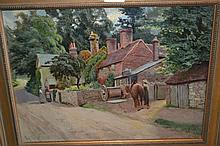 19th Century oil on canvas, view in Limpsfield High Street with figures and a horse, signed with monogram, 11.5ins x 15ins, gilt framed