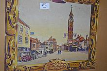 Gouache of Epsom High Street and Clock Tower with border commemorating the Coronation of Queen Elizabeth II, 16ins x 13ins