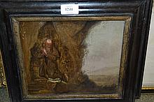 Pair of 19th Century oils on oak panels, depicting St. Jerome, unsigned, housed in ebonised and gilt frames, 8ins x 9ins
