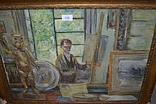 Modern British school, oil on board, study of an artist in his studio, 18ins x 24ins, unsigned, gilt framed