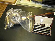 Silver mustard pot, trinket dish, set of four bridge markers, lamp extinguisher and ashtray