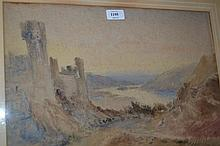 Watercolour, castle ruins in a Highland landscape, signed with initials W.S.E. (some fading and foxing), gilt framed