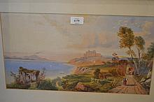 19th Century Italian gouache, figures on a track in the bay of Naples, with Vesuvius in the distance, unsigned, framed, 10ins x 18ins