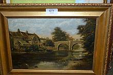 19th Century oil on canvas, dwellings by a river and figure on a stone bridge, signed Ryder, 7.5ins x 11.5ins
