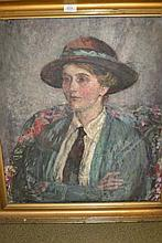 Fairlie Harmer, signed oil on canvas, portrait of a Bohemian lady (possibly self portrait), 26ins x 23ins, gilt framed