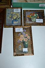 Minnie Clarke, group of three small watercolours, still life studies of flowers, signed, 4ins x 3.5ins