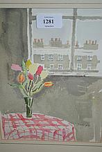 Barbara Dorf, signed watercolour, vase of flowers by a window, together with five various unframed watercolours