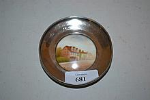 Small circular Birmingham silver mounted Royal Worcester trinket dish with painted street scene, signed Rushton