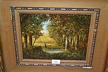 19th Century Continental oil on canvas, figure by a woodland lake, signed Visconti, 9ins x 11.5ins