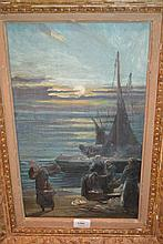 Late 19th Century oil, quayside scene at sunset with figures unloading the days catch, 17.5ins x 10ins, carved wood frame
