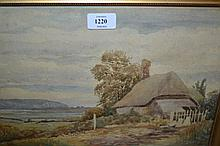 H. Jones, watercolour, coastal landscape with thatched cottage to foreground together with a watercolour, ' Rotterdam '
