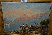 19th Century oil on canvas, Highland loch scene at sunset with figures by an open boat, 9ins x 12ins