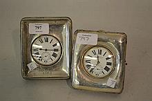 Two silver mounted Goliath pocket watch stands with watches (a/f)