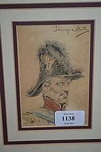 Domingo - Munoz, signed coloured pencil drawing, portrait of a military gentleman, 5ins x 3.5ins