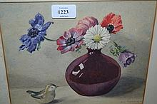 Eric Tunstall, watercolour, still life study of flowers in a Bernard Moore pot, signed, 8ins x 9.5ins, framed together with an oil on board, still life study