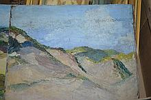Box containing six various oils, beach scenes and landscapes, some signed