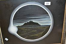 Modern framed oil by Donald Sones of St. Michaels Mount during the eclipse together with five other various pictures
