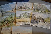 Folio containing a large collection of studio watercolours by Betty Miller, over fifty including history of the artist