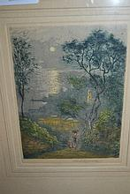 Charles Rowbotham, hand coloured etching, mother and child on a track with distant coastal town, signed in pencil, 5.5ins x 4ins, together with four small unframed coloured etchings, scenes of London