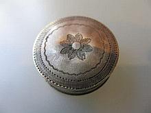 Small George III circular Birmingham silver patch box by Samuel Pemberton, 1805