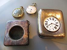 Two silver mounted pocket watch holders and three various pocket watches