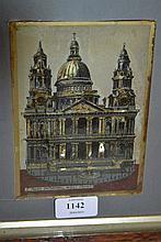 19th Century reverse painted print with mother of pearl view of St. Pauls Cathedral West Front, in an oak and silver gilt slip frame, together with three other various pictures and a pair of unframed watercolours
