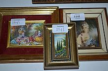 Miniature Continental portrait of a seated lady, another watercolour miniature, figures in a landscape and a miniature framed watercolour, Italian landscape