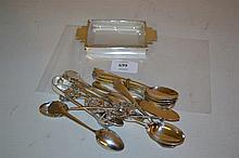 Art Deco silver and glass ashtray, a set of six silver teaspoons and a small quantity of other silver flatware