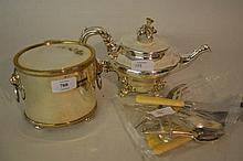 Plate on copper tea canister with lion ring handles, plated teapot and other items of silver plate and stainless steel cutlery etc