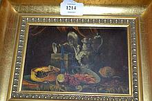 Small 20th Century oil on panel, still life, a pewter jug, fish etc on a table, signed indistinctly, 4ins x 6ins, gilt framed, together with a small 20th Century oil on board, river landscape, signed, Jo