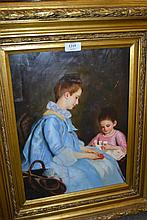 20th Century oil on panel, portrait of a mother and child playing cards, 15.5ins x 11ins, gilt framed