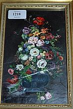 Irene Nash, small 20th Century oil on board, still life vase of flowers, signed, 7.5ins x 4.5ins, gilt framed