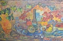 Mid 20th Century oil on canvas, still life with fruit and glass ware on a table top, 24ins x 40ins in a painted frame
