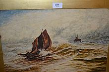 19th Century oil on millboard, maritime scene with two figures in a sailing boat and distant ship, 11.5ins x 17.5ins