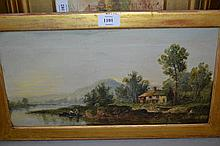 19th Century oil on canvas, river landscape with cottage and figures in an open boat, 7.5ins x 15ins