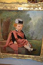 Oil painting, possibly on print base, portrait of a child in Highland costume, seated in a garden, 17.5ins x 16ins