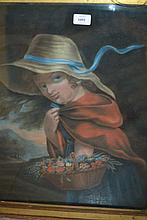 18th / 19th Century pastel drawing, portrait of a young lady with a basket of flowers, 24ins x 19.5ins