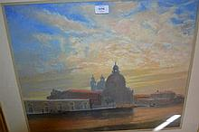 Len Connor, pastel drawing, view of Santa Maria della Salute, signed, 18ins x 22ins, gilt framed