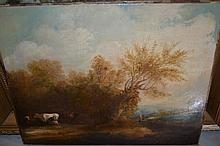 18th / 19th Century English school, oil on canvas, rural scene with cattle to the foreground and figures on a track beyond, 16ins x 20.5ins, unsigned, gilt framed