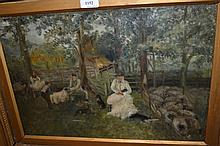 19th Century oil on canvas, figures shearing sheep, signed Taylor, 13ins x 18.5ins, gilt framed
