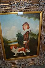 Modern oil on canvas, portrait of a boy with dog in a landscape, 15.5ins x 11.5ins, gilt framed