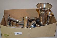 Box containing thirteen various silver vases (a/f)