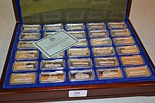Set of thirty silver 925 ingots, ' The Romance of Steam ' in original presentation box with leaflets