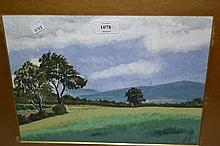 Mid 20th Century oil on paper, a rural landscape together with an oil on card, landscape, a watercolour still life and a pair of oriental paintings on linen