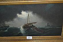 19th Century oil on canvas, moonlit maritime scene with shipping and figures in a boat, 9.5ins x 17.5ins