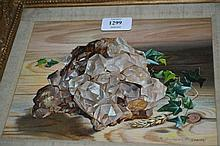 Robert Dumont Smith, signed oil, still life with rock crystal, 7ins x 9ins